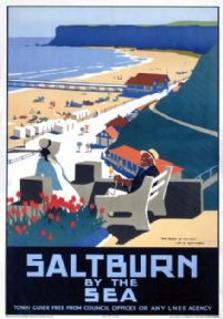 Saltburn by the Sea, Yorkshire. Vintage LNER Travel poster by Henry George Gawthorn